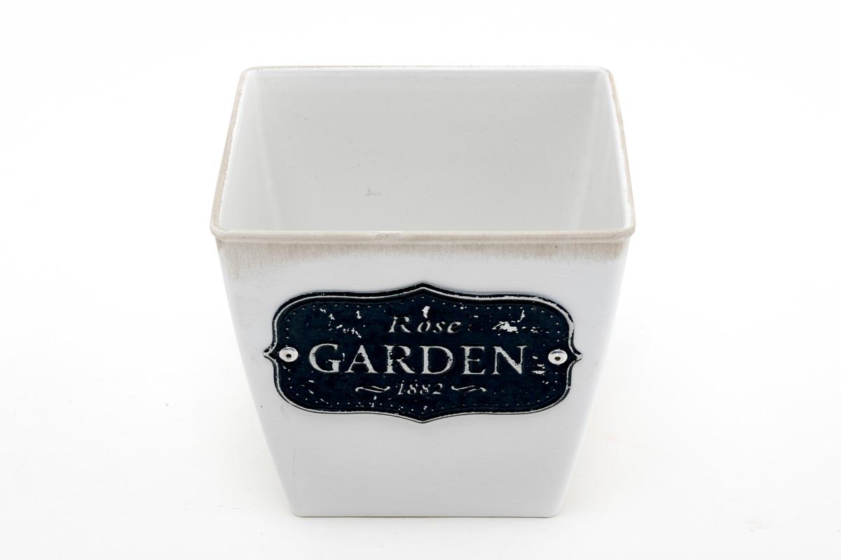 Кашпо из пластика, квадратное, белое с логотипом