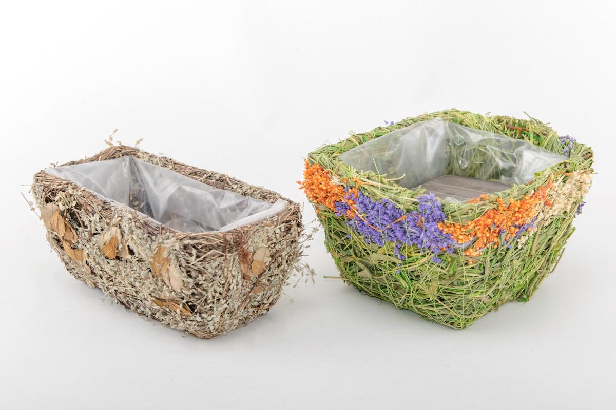 Кашпо из травы и листьев, прямоугольное