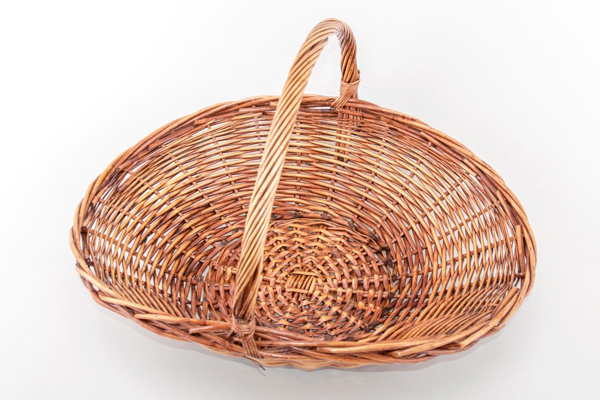 Корзина плетенная из лозы Шляпа, темная, большая, овальная