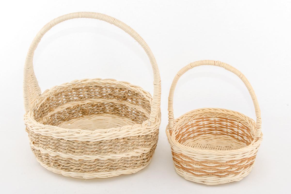 Корзина плетенная из лозы, маленькая и большая, круглая